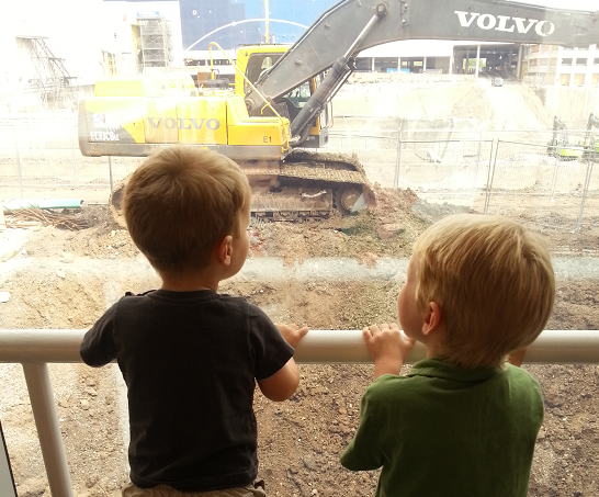 kids looking at construction Job Hunting While Home With Kids Is The Real Job